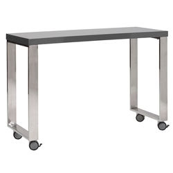 Diesel Gray Lacquer + Polished Steel Modern Mobile Desk Return