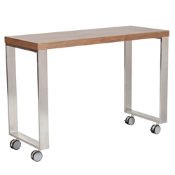 Diesel Walnut Veneers + Brushed Stainless Steel Modern Mobile Desk Return