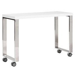 Diesel White Lacquer + Polished Steel Modern Mobile Desk Return