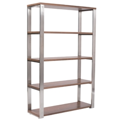 Diesel Modern Walnut + Stainless Steel Shelving Unit