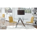 Dilys Modern Saffron + Polished Steel Side Chairs