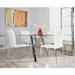 Dilys Modern White + Polished Steel Side Chairs