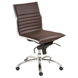 Dirk Modern Brown Armless Low Back Office Chair by Euro Style