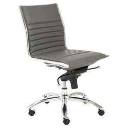 Dirk Modern Gray Armless Low Back Office Chair by Euro Style