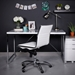 Euro Style Dirk Modern Armless White Low Back Office Chair