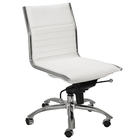 Dirk Modern White Armless Low Back Office Chair by Euro Style