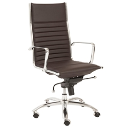 Dirk Modern Brown High Back Office Chair by Euro Style