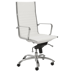 Dirk Modern White High Back Office Chair by Euro Style
