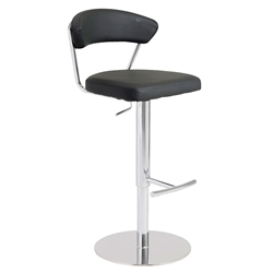 Draco Black Leatherette + Chromed Steel Modern Adjustable Height Bar + Counter Stool