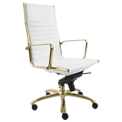 Drake White Leatherette + Brushed Gold Steel Contemporary High Back Office Chair