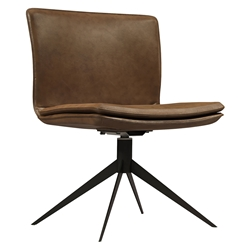 Duane Aged Caramel Leather + Black Steel Modern Swivel Chair by Modloft Black