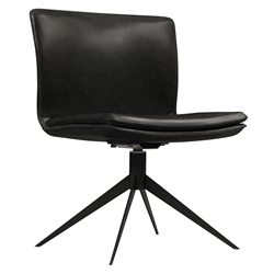 Duane Aged Onyx Leather + Black Steel Modern Swivel Chair by Modloft Black