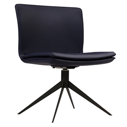 Duane Navy Leather + Black Steel Modern Swivel Chair by Modloft Black