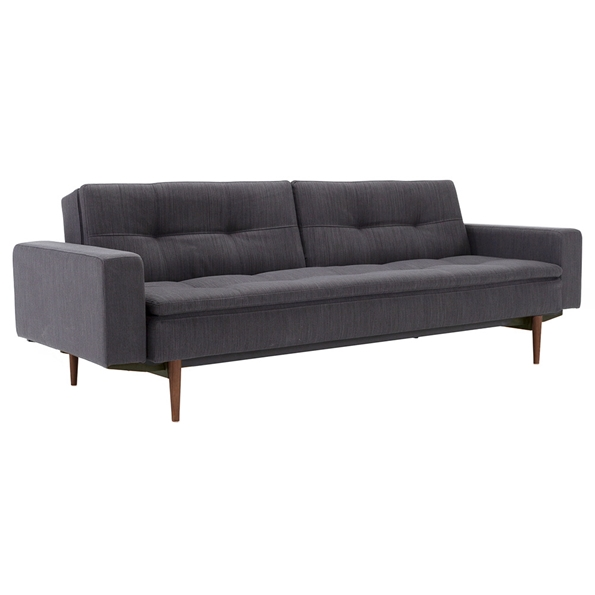 Dublexo Sleeper Sofa with Arms in Anthracite and Wood Legs