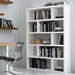Dublin Tall White Staggered Shelves Contemporary Bookcase