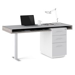 BDI Duo Contemporary Desk in Platinum