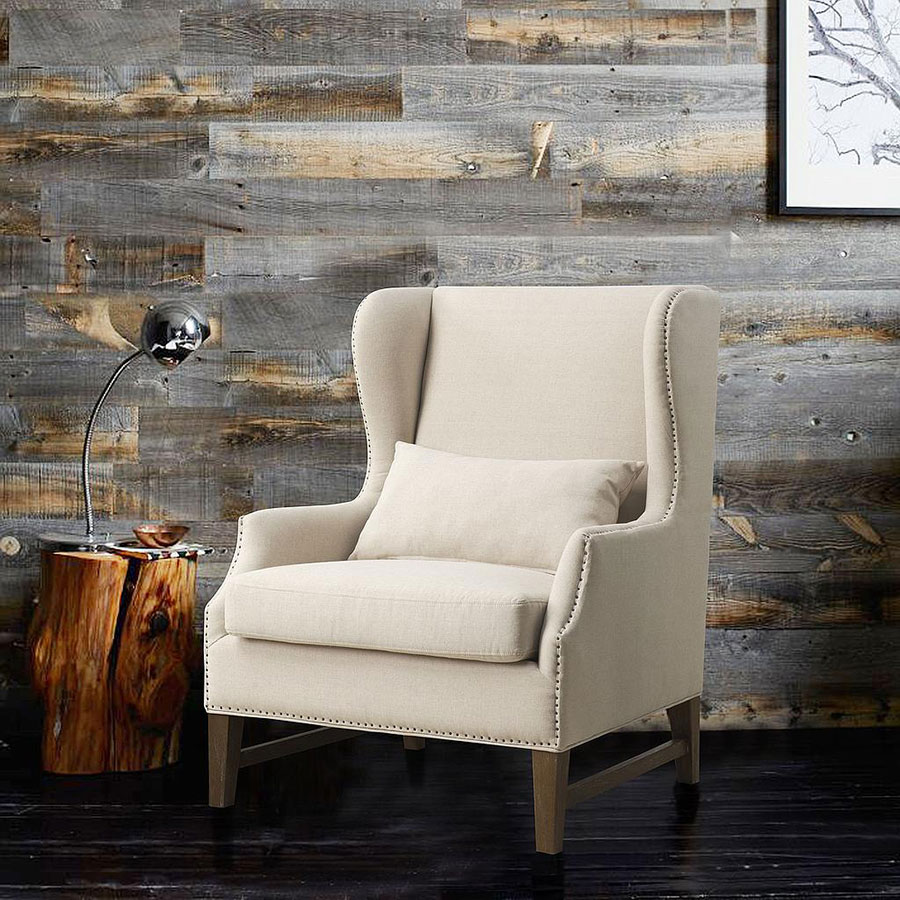 duval beige linen wing back chair w nailheads