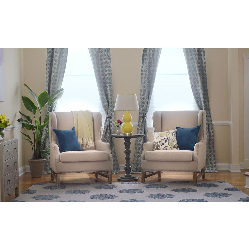 duval beige linen wing back chairs