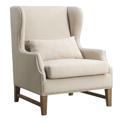 Duval Beige Contemporary Wing Back Chair