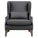 Duval Gray Linen Contemporary Wing Back Chair
