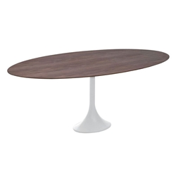 Echo Contemporary White + Walnut Dining Table