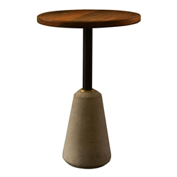 Exeter Seared Oak + Gray Concrete Round Contemporary End Table
