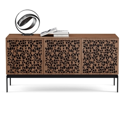 BDI Elements Modern 3 Door Media Console with Mosaic Doors in Natural Walnut with Lifestyle Objects