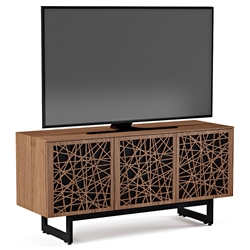 BDI Elements Modern 3 Door Media Stand with Ricochet Doors in Natural Walnut