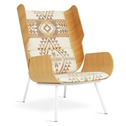 Gus* Modern Elk Chair in Oak Formed Plywood and Canyon Lands Desert Sunbrella Upholstery