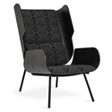 Gus* Modern Elk Chair in Charcoal Stained Formed Plywood and Diamond River Tonal Charcoal Sunbrella Upholstery