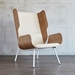 Gus* Modern Elk Chair in Huron Ivory Fabric Upholstery With Molded Ash Plywood Modern Wing Back Lounge Chair - Room Shot