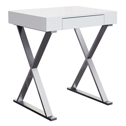 Elm Modern Small White Writing Desk w/ Drawer by Whiteline