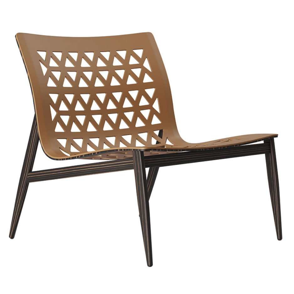 Elmstead Dark Teak Wood + Caramel Genuine Leather Modern Lounge Chair