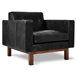 Gus* Modern Embassy Modern Arm Chair in Saddle Black Leather with Solid Walnut Wood Base