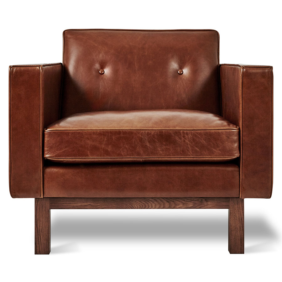 ... Gus* Modern Embassy Mid Century Arm Chair In Saddle Brown Top Grain  Leather With ...