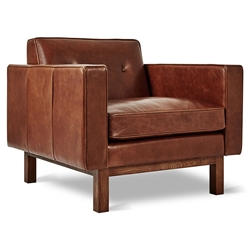 Gus* Modern Embassy Mid-Century Arm Chair in Saddle Brown Top Grain Leather with Solid Walnut Wood Base