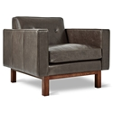 Gus* Modern Embassy Saddle Gray Leather Arm Chair with Walnut Wood Base