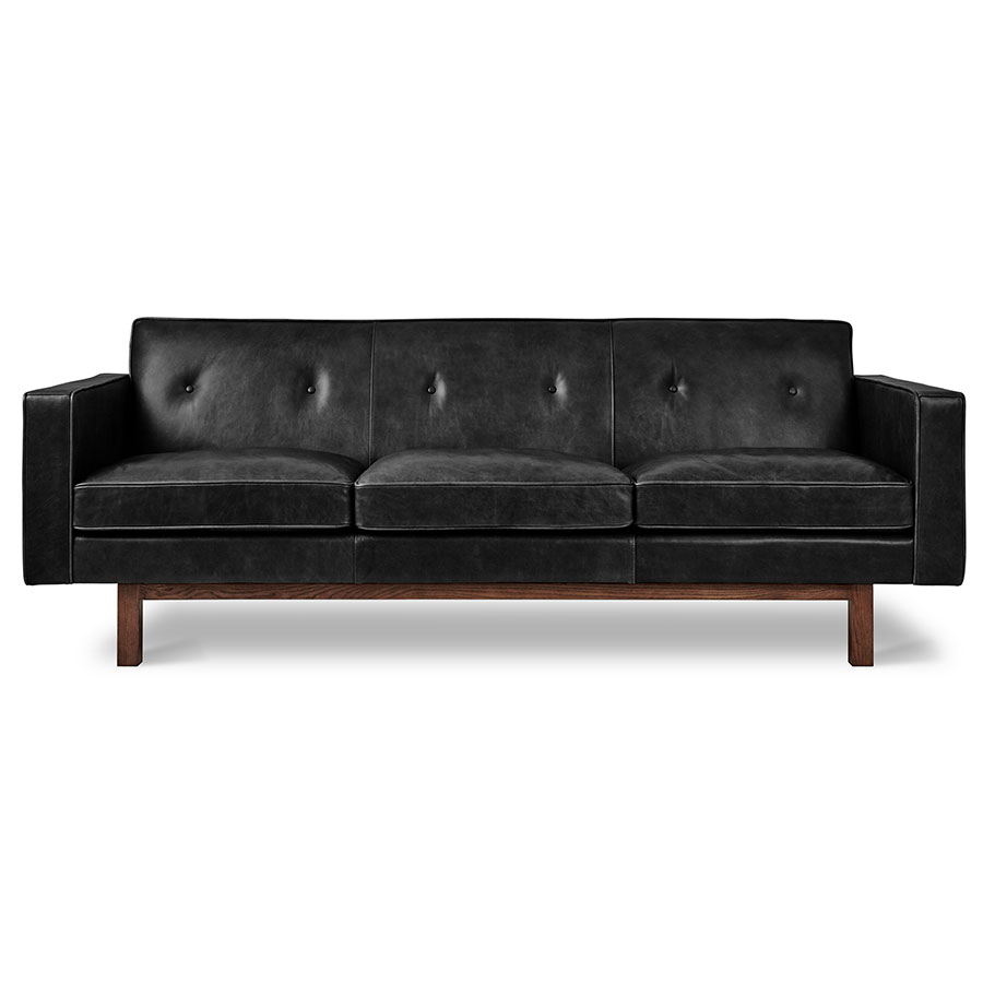 Gus Modern Emby Sofa In Saddle Black Leather With Solid Walnut Wood Base