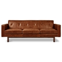 Gus* Modern Embassy Mid-Century Sofa in Saddle Brown Leather with Solid Walnut Base