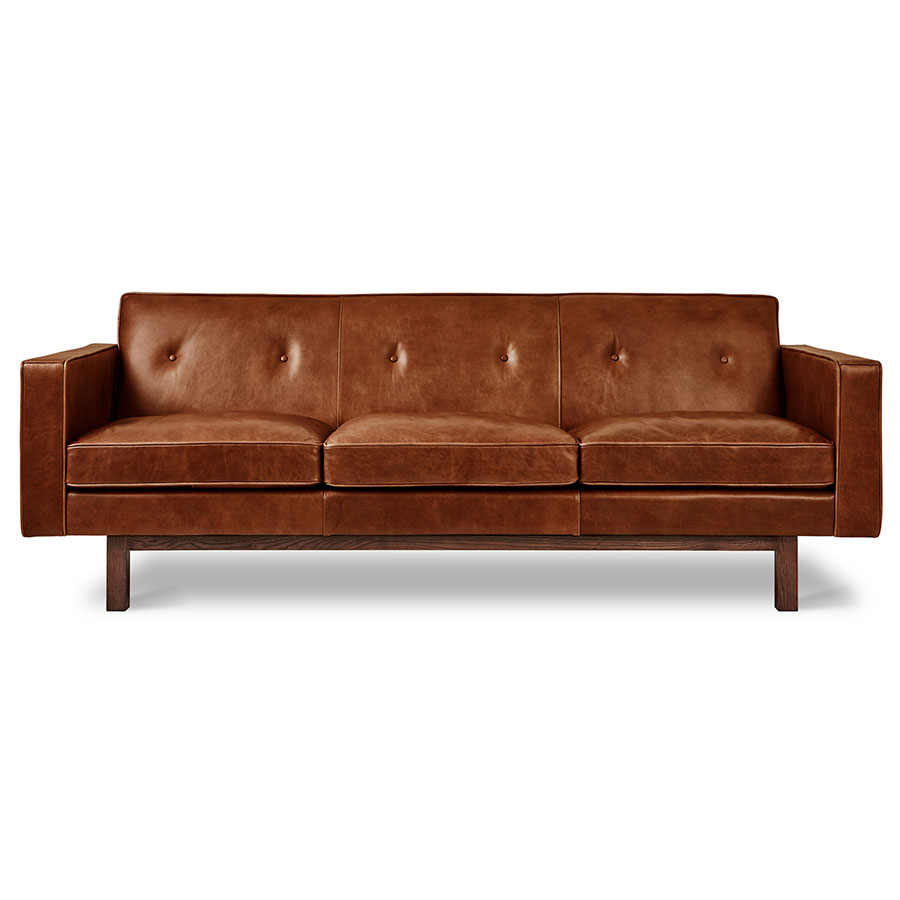 Charmant Gus* Modern Embassy Mid Century Sofa In Saddle Brown Leather With Solid  Walnut Base