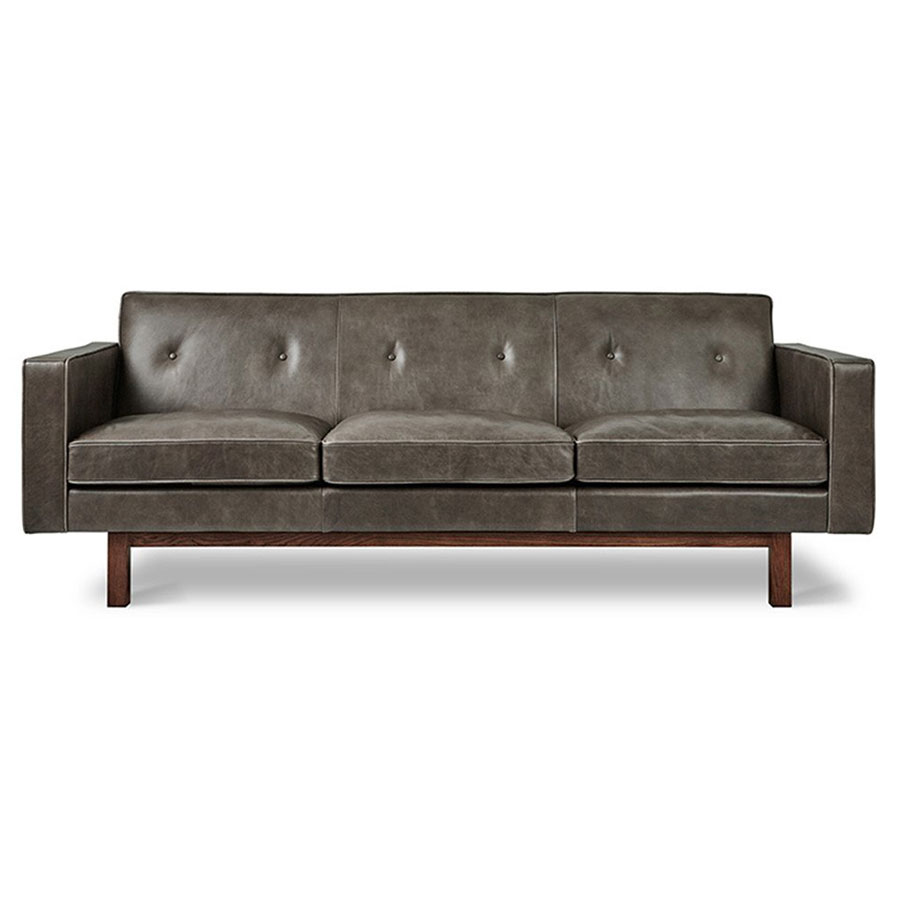 Embassy gray top grain leather solid walnut mid century modern style sofa by gus