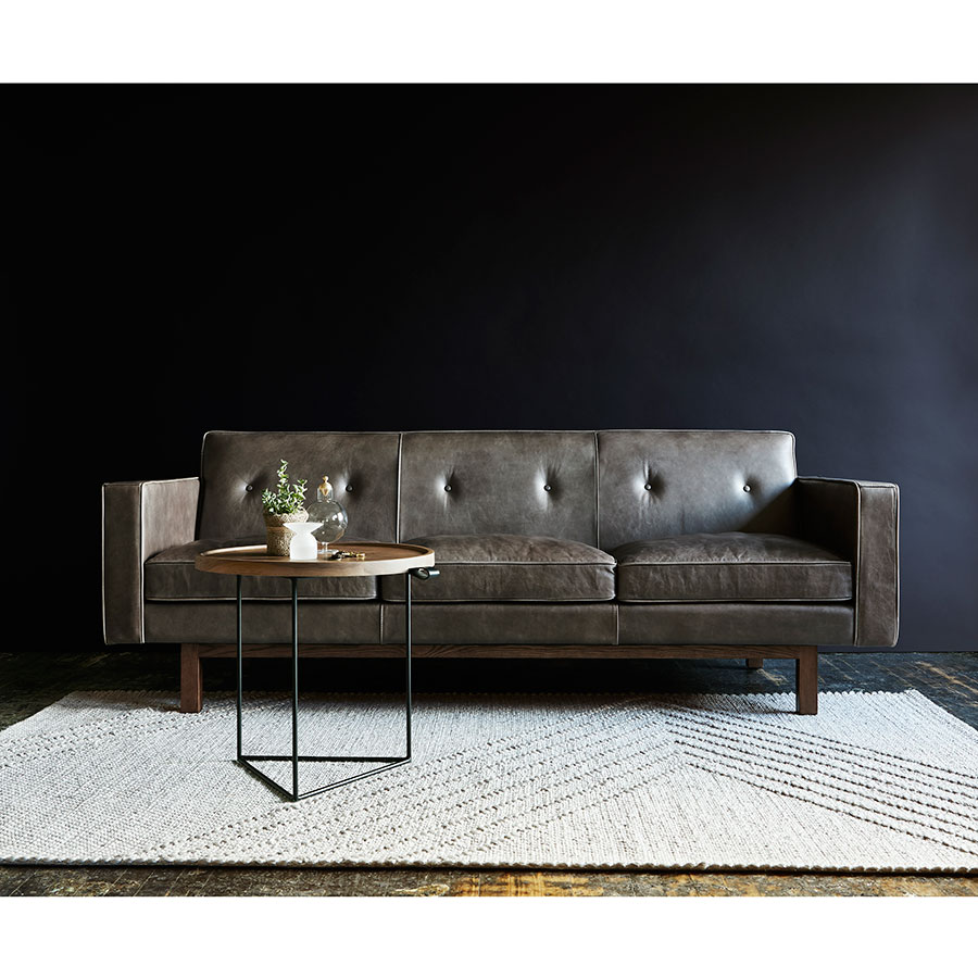 Emby Gray Top Grain Leather Solid Walnut Mid Century Modern Sofa By Gus