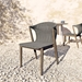 Modloft Embras Modern Dining Chair in Shades of Gray Regatta Cord and Weathered Eucaplyptus - Lifestyle, Tight View