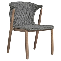 Modloft Embras Modern Dining Chair in Shades of Gray Regatta Cord and Weathered Eucaplyptus