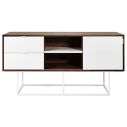 Gus* Modern Emerson Media Stand in White and Walnut