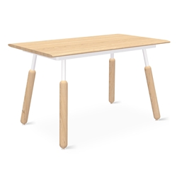 "Gus* Modern Envoy 50"" Blonde Ash + Blonde Ash and White Steel Dowel Legs Contemporary Desk"