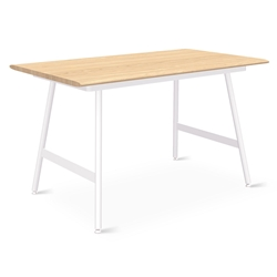 "Gus* Modern Envoy 50"" Blonde Ash + White Steel Lecture Legs Contemporary Desk"