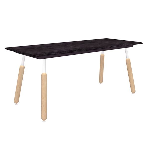 "Gus* Modern Envoy 70"" Black Ash Wood + White Metal + Wood Dowel Legs Contemporary Desk"