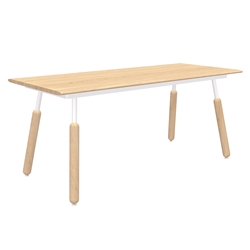 "Gus* Modern Envoy 70"" Blonde Ash Wood + White Metal + Wood Dowel Legs Contemporary Desk"