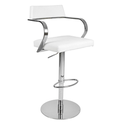 Erna White Adjustable Contemporary Stool
